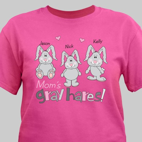 Gray Hares Personalized Hot Pink T-shirt 33322x