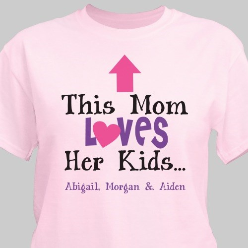 Personalized This Mom Loves Her Kids T-Shirt | Mommy T Shirts