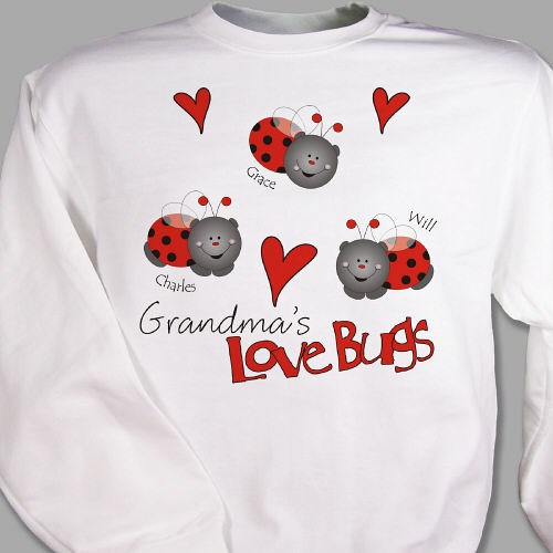 Personalized Love Bugs Sweatshirt for Grandma, Mom, Aunt or Nana