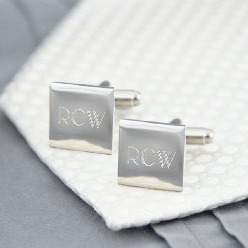 Silver Square Cuff Links D1103S
