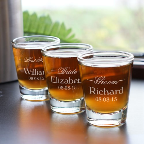 Engraved Wedding Party Shot Glasses