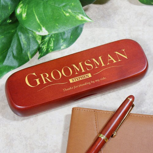 Engraved Rosewood Pen Set for Groomsman Gifts