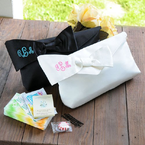 Embroidered Bridesmaid Clutch with Survival Kit D10489X