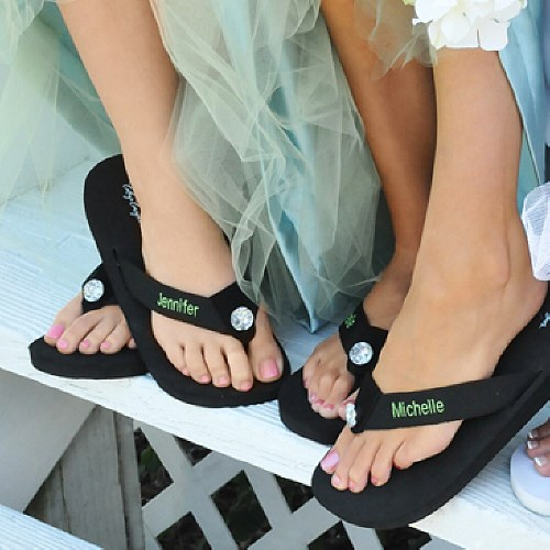 Embroidered Ladies Flip Flops D1600X
