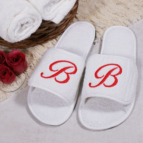 Personalized Initial White Slippers