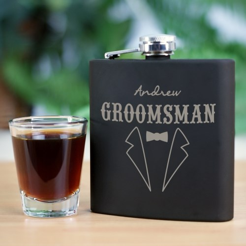 Engraved Groomsmen Steel Flask L764472
