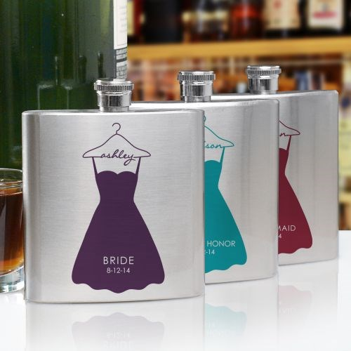Personalized Bridal Party Dress Flask U769676