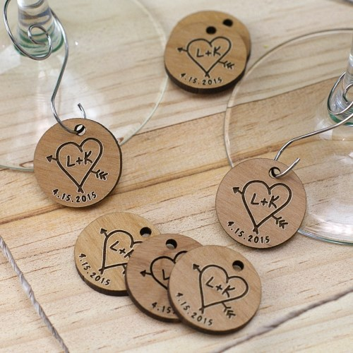 Engraved Wood Initial Wine Charms W95120