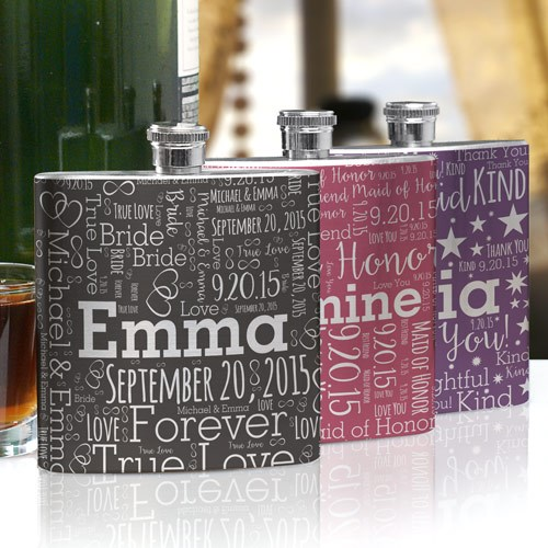 Bridesmaid Word-Art Flask U950776
