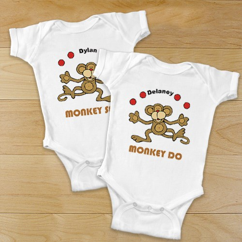 Just Monkey Around Twin Personalized Infant Creeper