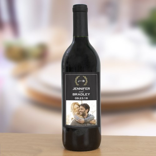 Personalized Wreath Photo Wedding Wine Bottle Labels 11039811X