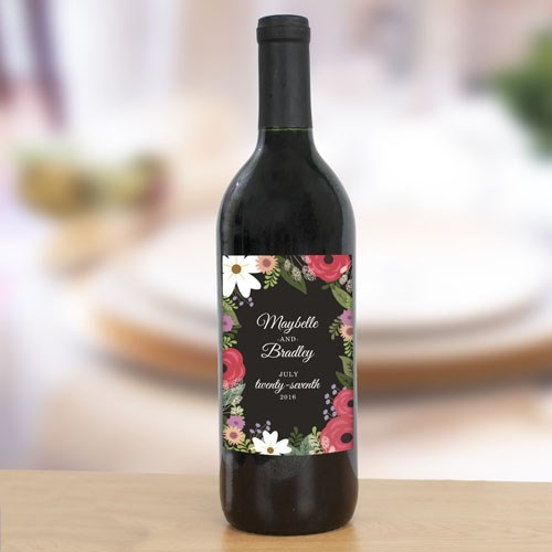 Personalized Wedding Floral Wine Bottle Labels 11040011X