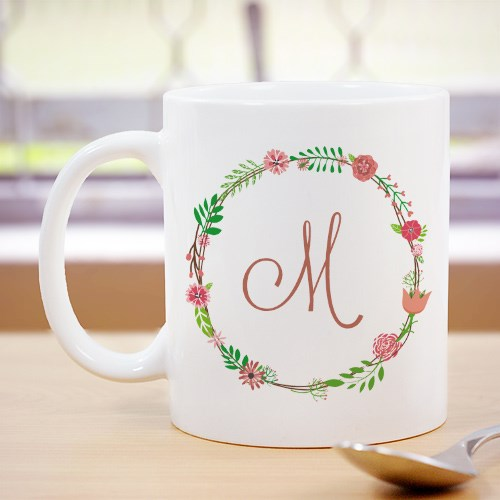 Personalized Single Initial Floral Mug 210174