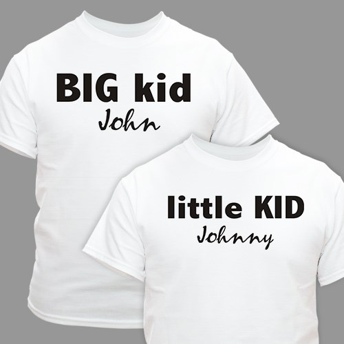 Big Kid Little Kid Personalized Father Child T-shirts