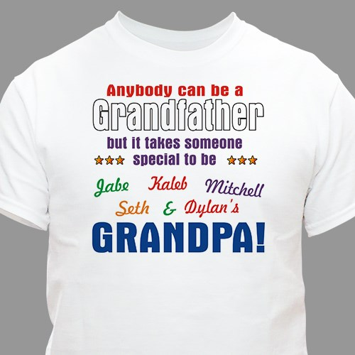 Personalized Grandpa Tee Shirt for Fathers Day