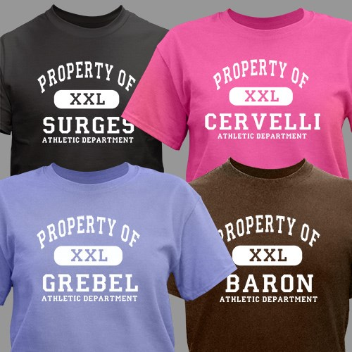 Personalized property of t shirt personalized athletic for Property of shirt designs