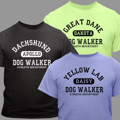 Personalized Dog Walker Athletic Dept. T-Shirt 36534X