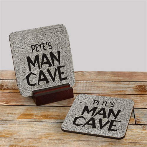 Man Cave Personalized Coaster Set | Mancave Gifts