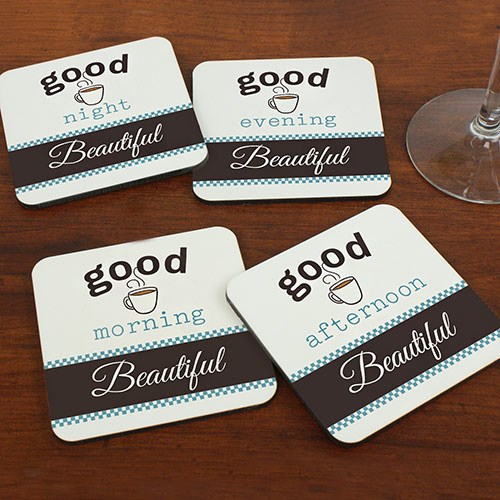 Good Morning Personalized Coasters 699249CS