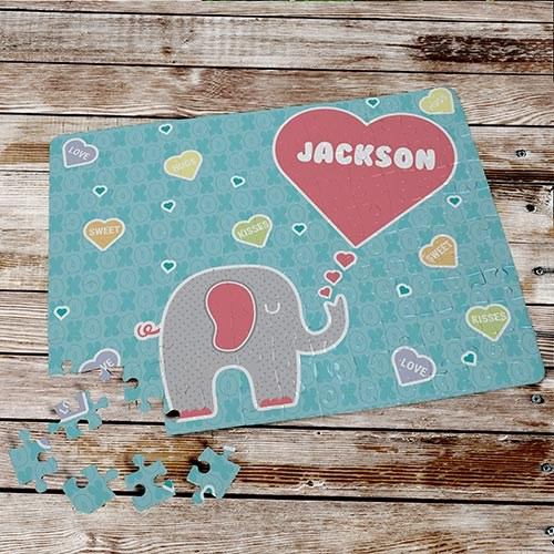 Personlaized Elephant Love Puzzle | Valentine Gifts For Children