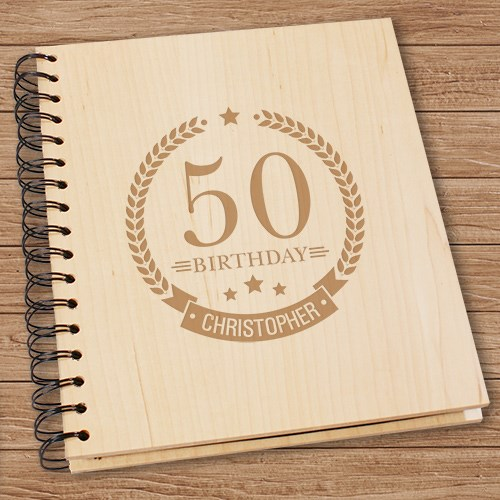 Engraved Birthday Wreath Wooden Photo Album 7105134
