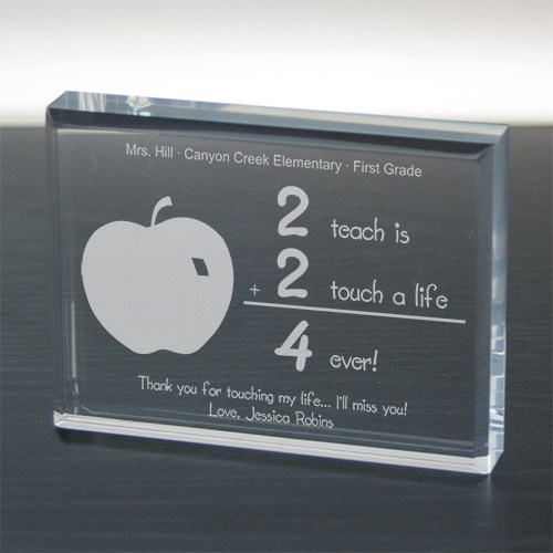 2 Touch A Life 4-ever Teacher Keepsake Paperweight