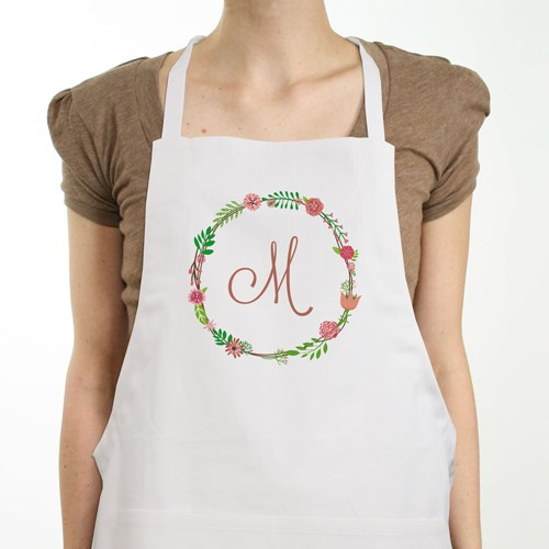 Personalized Single Initial Floral Apron 8101747