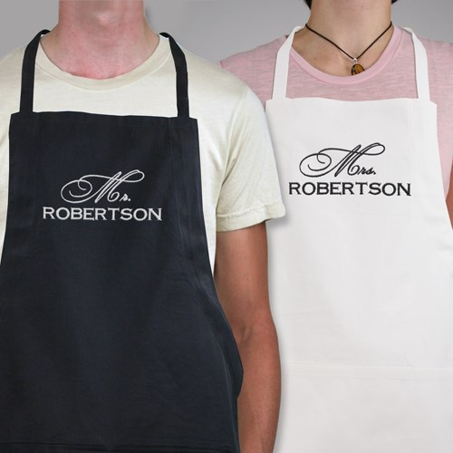 Embroidered Mr & Mrs. Apron Set *104857X