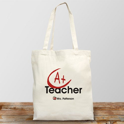 A+ Teacher Personalized Canvas Tote Bag