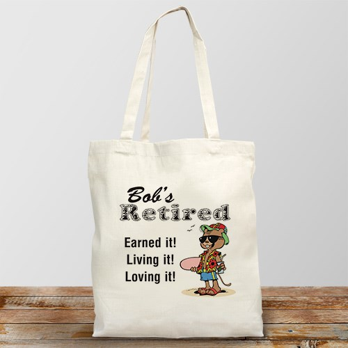 Retired and Loving It Personalized Canvas Tote Bag
