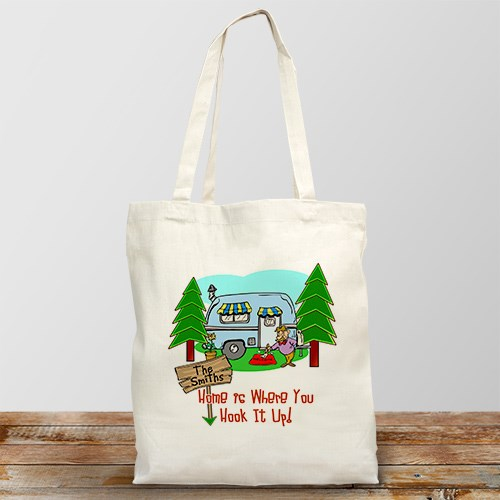 Home is Where You Hook It Up Personalized Canvas Tote Bag
