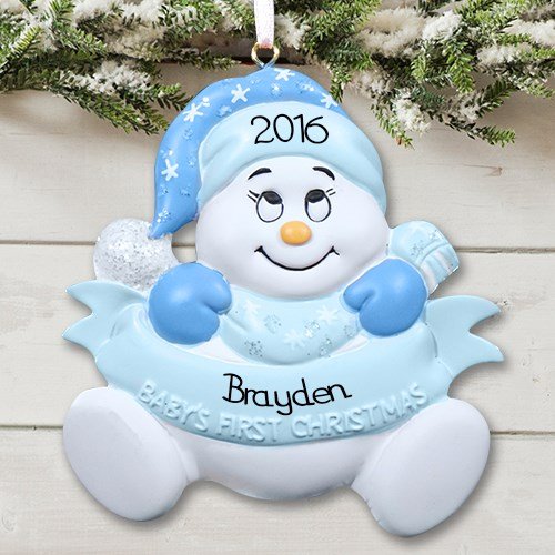 Personalized baby's first christmas ornament - Baby Boy Design