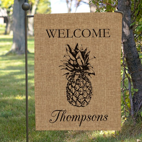 Personalized Pineapple Burlap Garden Flag 830104692BX