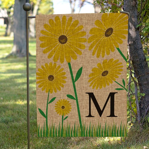 Personalized Yellow Floral Burlap Garden 830104702BX