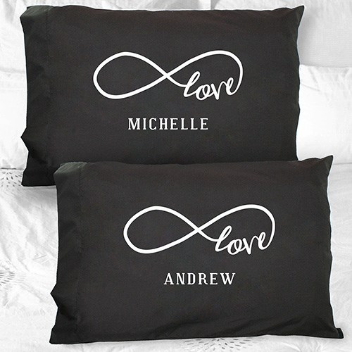Personalized Infinity Design Black Pillowcase | Romantic Gifts For Valentine's