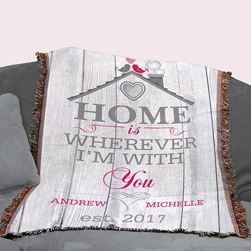 Personalized Home is Wherever I'm With You Afghan 83099695