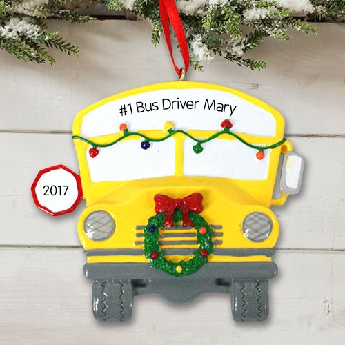 Personalized Bus Driver Christmas Ornaments