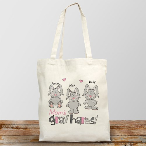 Gray Hares Personalized Canvas Tote Bag