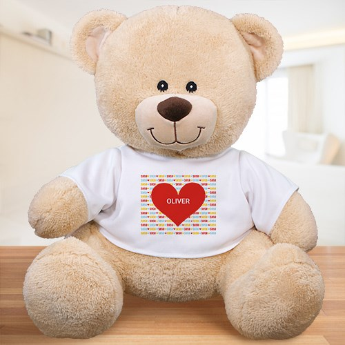 Personalized Red Heart Kids Bear | Valentine Day Teddy Bears