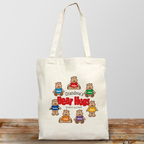 Bear Hugs Personalized Canvas Tote Bag