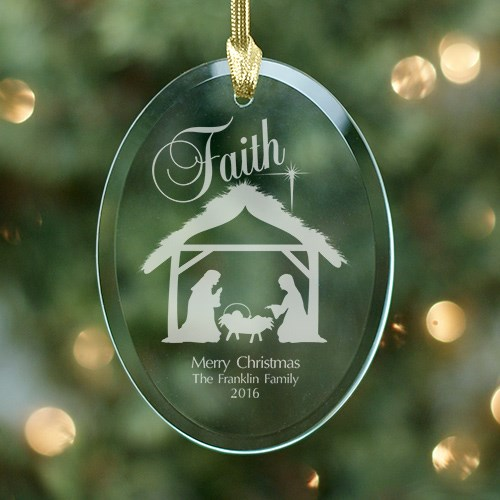 Engraved Nativity Oval Glass Ornament 844944