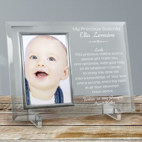 A Godparent's Promise Beveled Glass Picture Frame