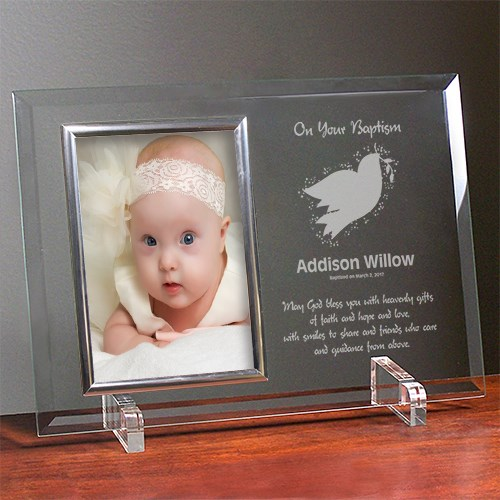 For My Baptism Beveled Glass Picture Frame - Personalized