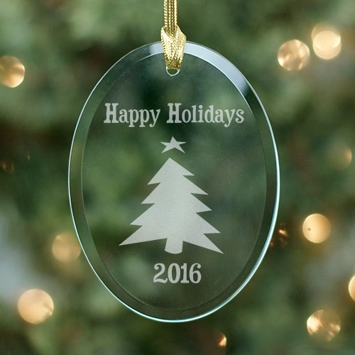 Happy Holidays Oval Glass Ornament 861894
