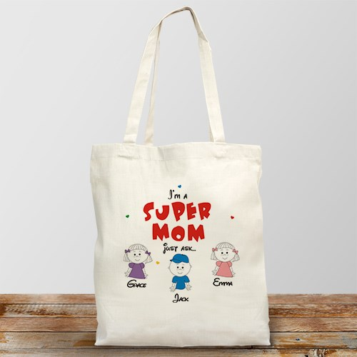 Super Grandma Personalized Canvas Tote Bag