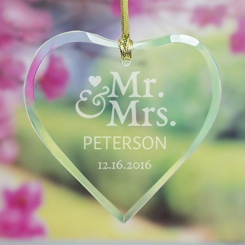Mr. and Mrs. Glass Heart Ornament 898254H