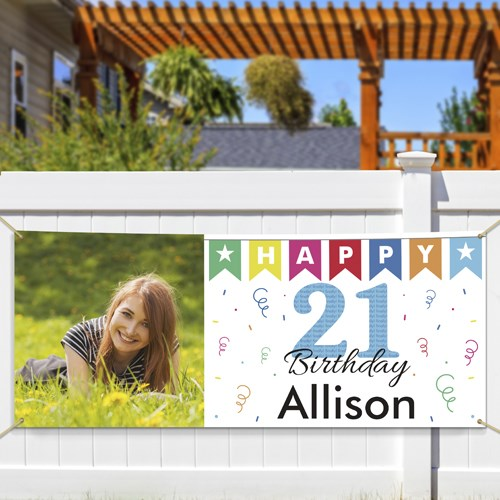 Personalized 21st Birthday Photo Banner 911048714