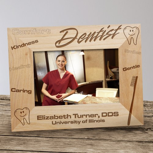 Personalized Dentist Wood Picture Frame