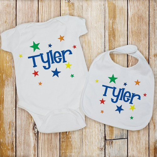 personalized star is born bib and creeper set