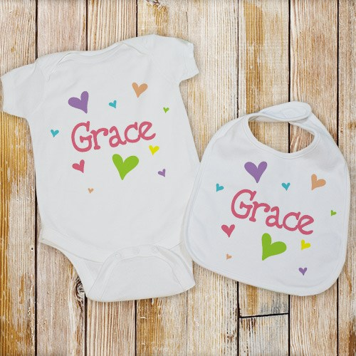 personalized heart bib and creeper